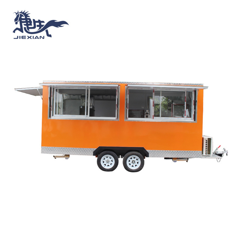 Customized chinese food truck Bbq Vending Trailer europe JX-FS450