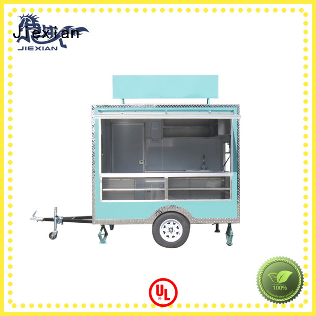 Jiexian custom concession trailers with square roof for barbecue selling