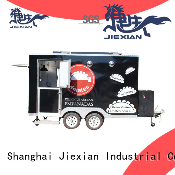 Jiexian mobile food trailer with square roof for bbq selling