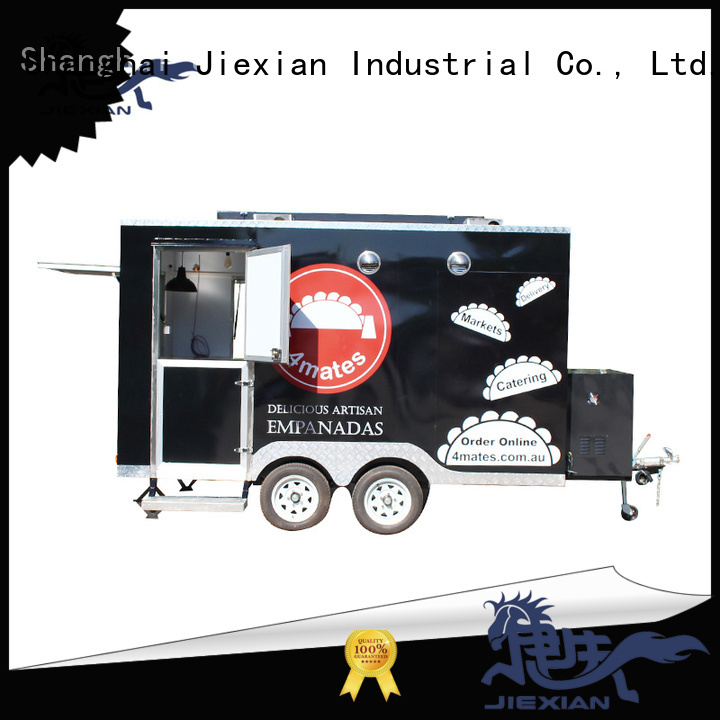 Jiexian bbq food trailer with square roof for barbecue selling