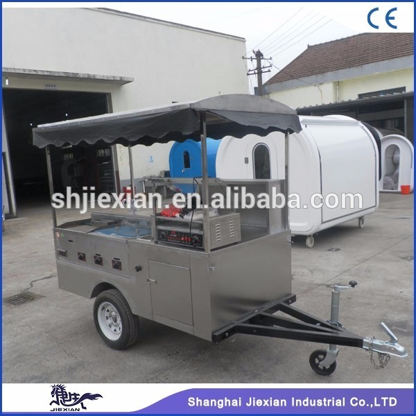 JX-HS200D Jiexian Professional Stainless Steel towable mobile hot dog push cart
